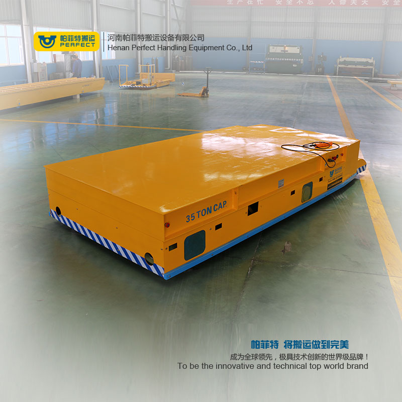 automated transfer cart trackless on cement floor