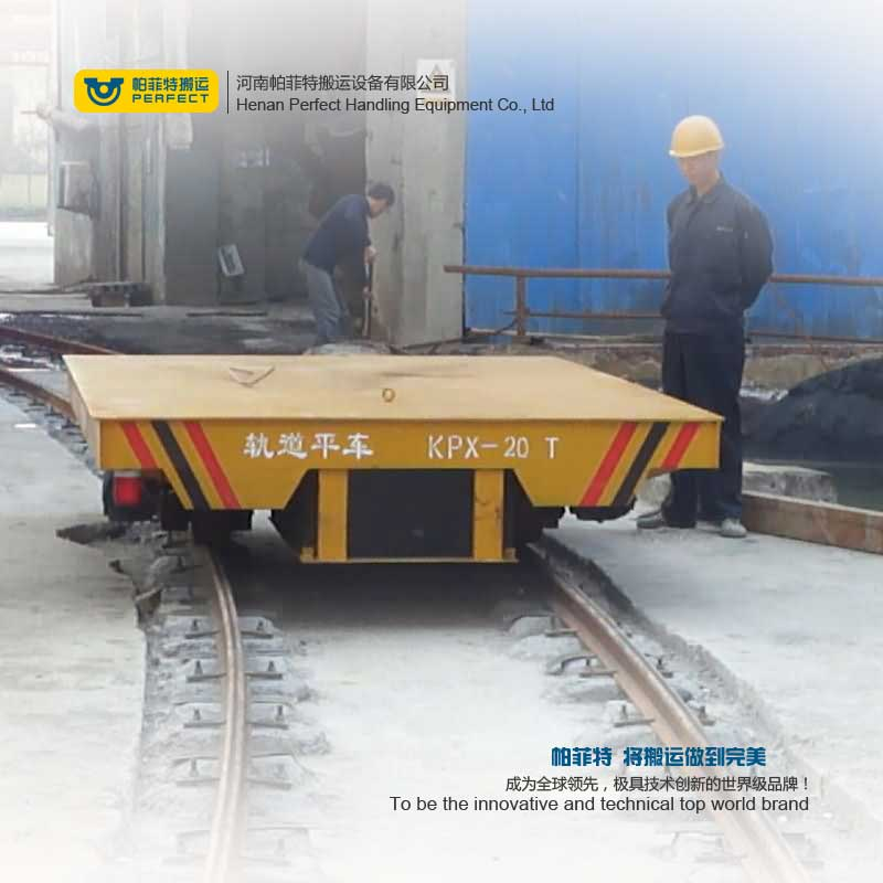 Battery Powered Rail Transfer Cart , Cast Steel Mine factory Transport Vehicle